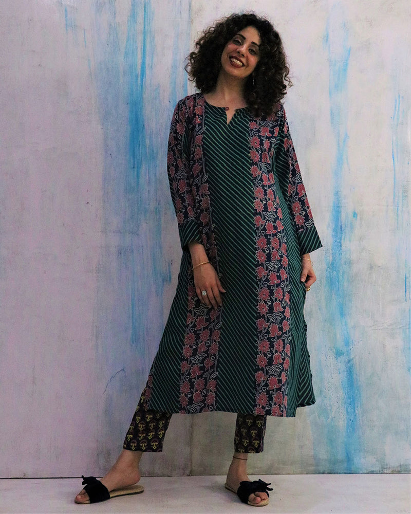 Blue Kamal Block Print Cotton Silk Kurta Set of 2- WBS