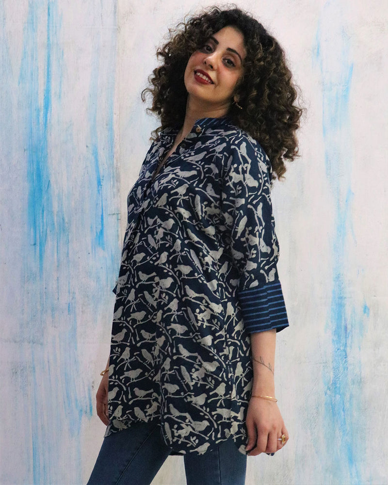 Blue Bird Block Print Cotton Silk Tunic- WBS