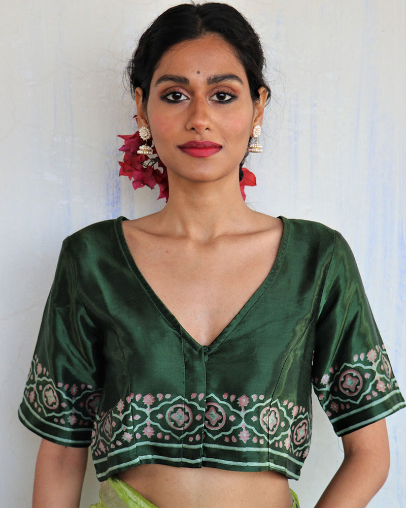 Green Blockprinted Mashru Silk Blouse