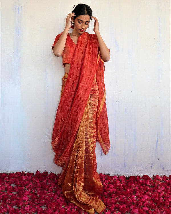Handwoven mulberry silk zari red saree