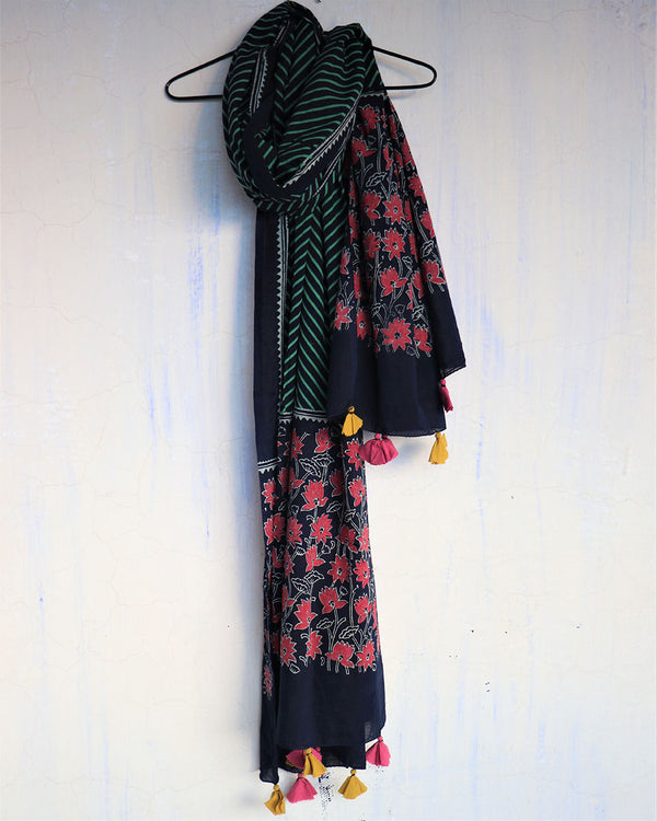 BLUE BLOCKPRINTED COTTON DUPATTA - WBS