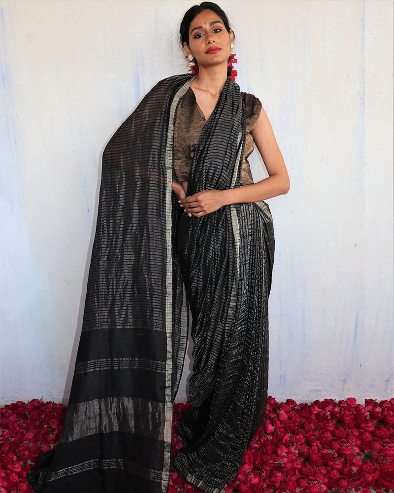Handwoven mulberry silk zari black saree