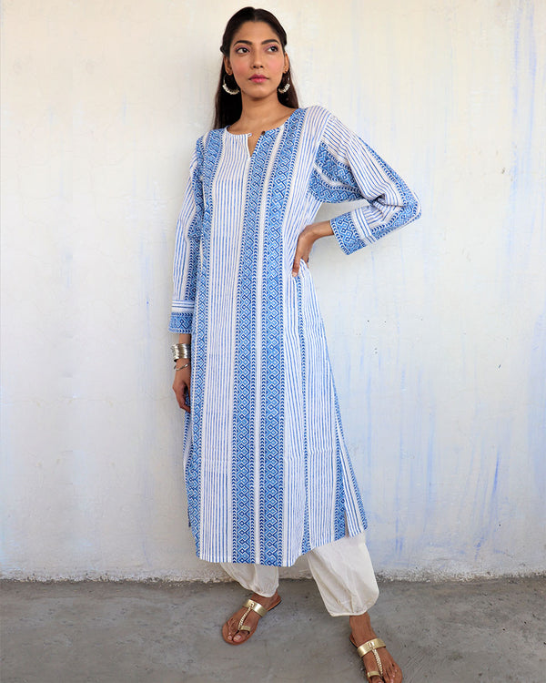 WHITE-BLUE STRIPE HANDPRINTED COTTON KURTI - MUGHAL