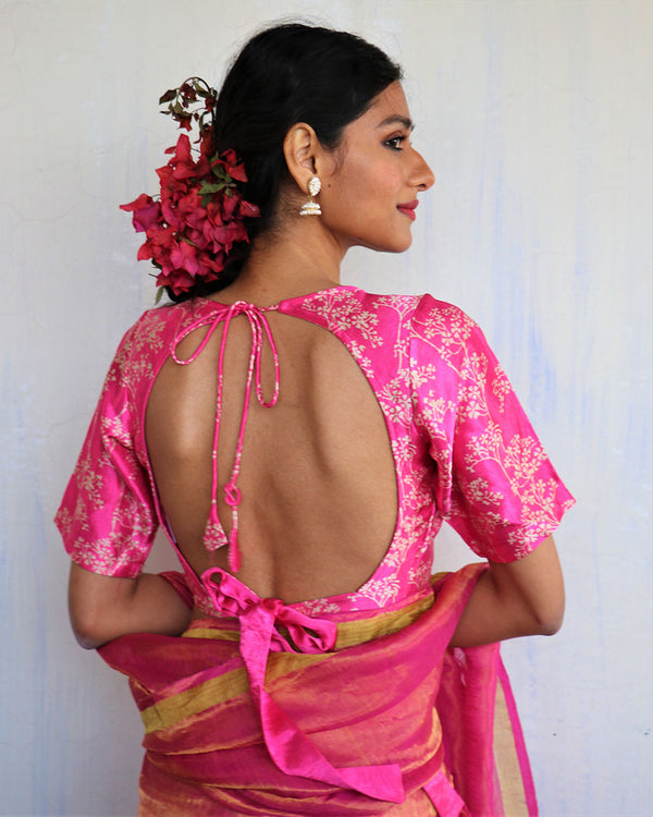 Pink Blockprinted Mashru Silk Blouse