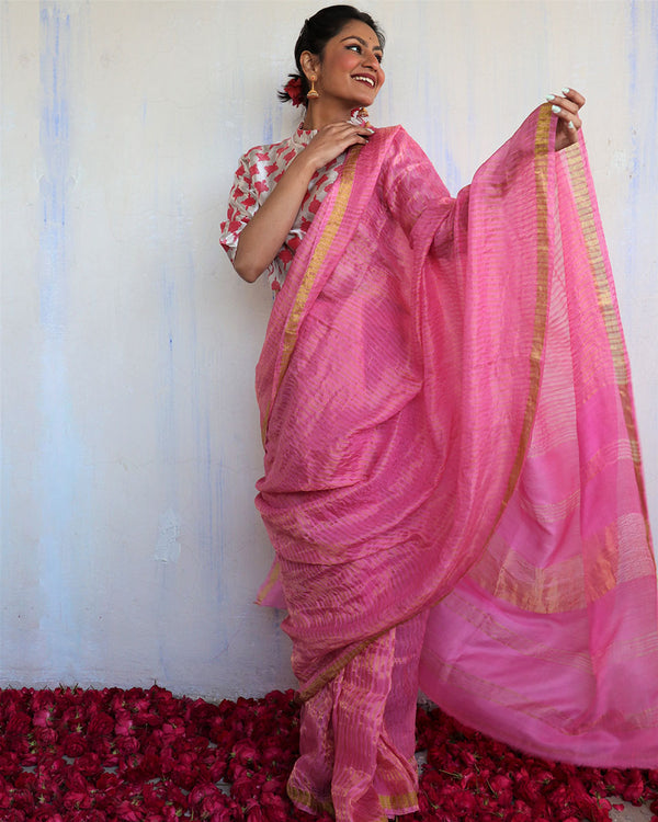Handwoven mulberry silk zari pink saree