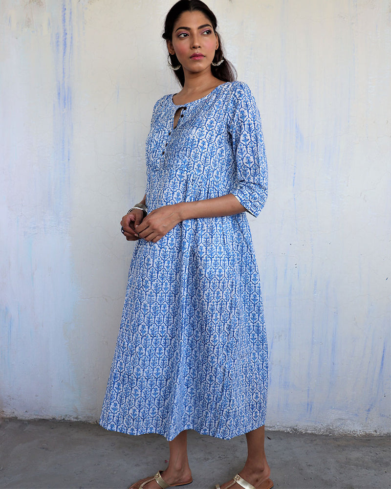 SKY BLUE JAL HANDPRINTED COTTON DRESS- MUGHAL