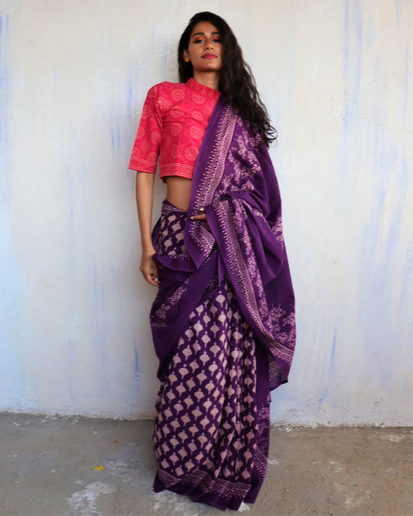 Purple Block Printed Cotton Mulmul Saree-ButterflyGirls