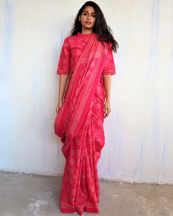 Rani Block Printed Cotton Mulmul Saree-ButterflyGirls