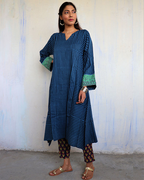 Blue Line Block Print Cotton Silk Kurta Set of 2- WBS