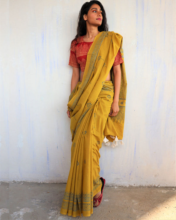 Yellow Block Printed Cotton Mulmul Saree-ButterflyGirls
