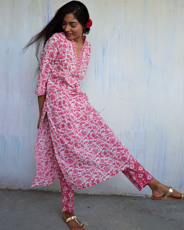 PINK BLOCKPRINTED COTTON BOTTOMS - MUGHAL
