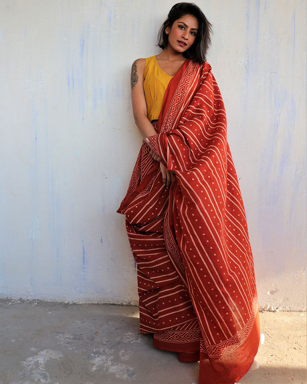 Rust Block Printed Cotton Mulmul Saree-ButterflyGirls