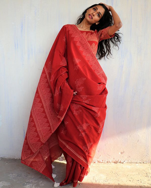 Red Block Printed Cotton Mulmul Saree-ButterflyGirls