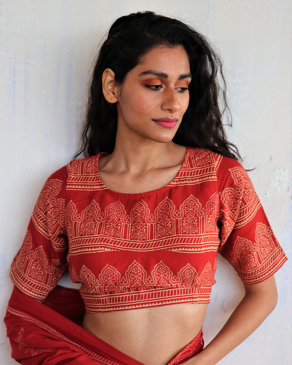 Red Block Printed  Cotton Crop Top Blouse - ButterflyGirls