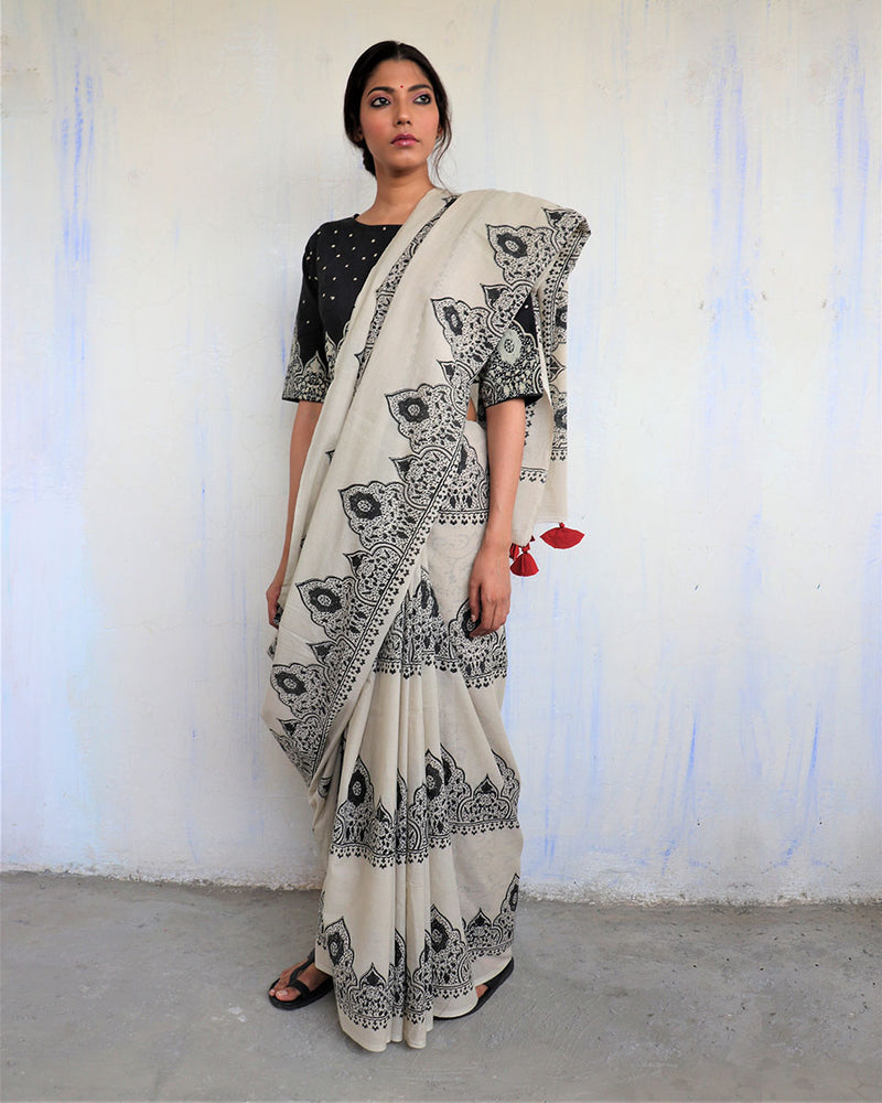 Ivory Black Block Printed Cotton Mul Saree - God