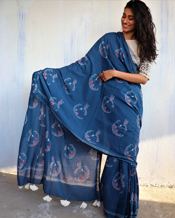Blue Block Printed Cotton Mulmul Saree - ButterflyGirls