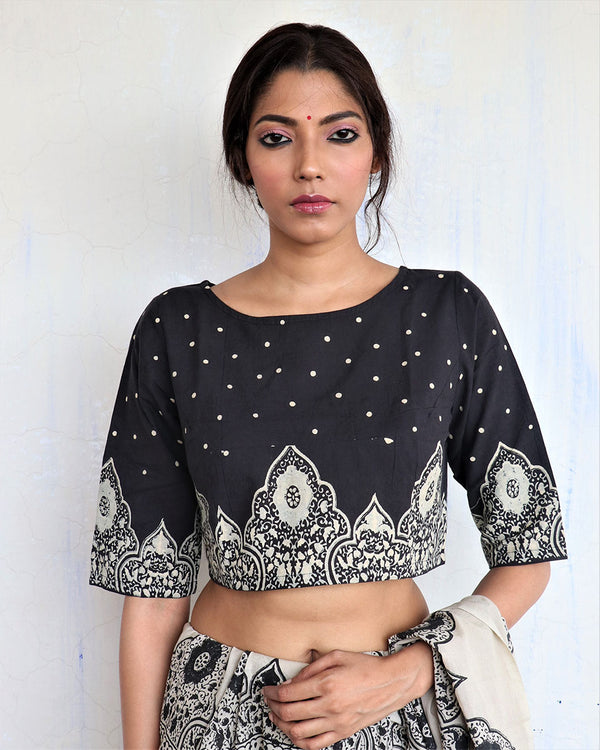 Black Minari Handprinted Cotton Crop Top Blouse - GOD