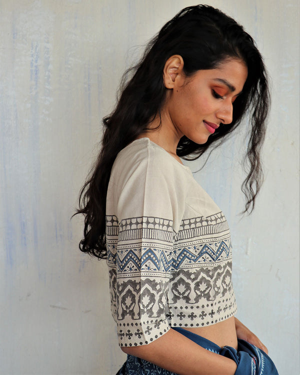 Ivory Block Printed Cotton Crop Top Blouse-ButterflyGirls