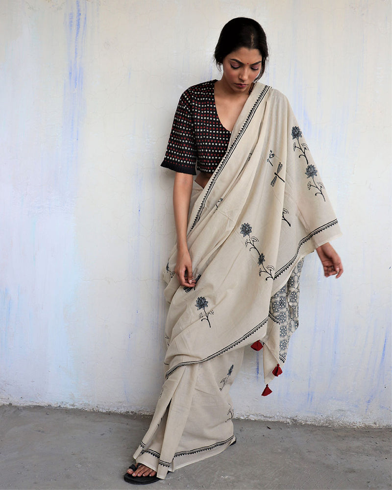 Ivory Black Dragonfly Block Printed Cotton Mul Saree -GOD