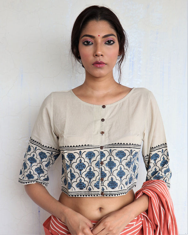 Ivory Grey Handprinted Cotton Crop Top - GOD