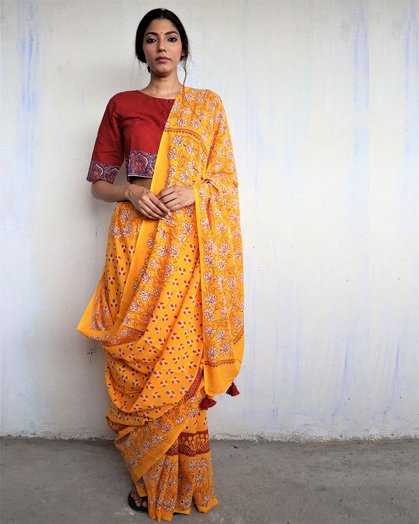Yellow Block Printed Cotton Mul Saree - God