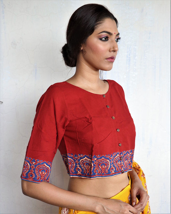 Marron Handprinted Cotton Crop Top Blouse - GOD