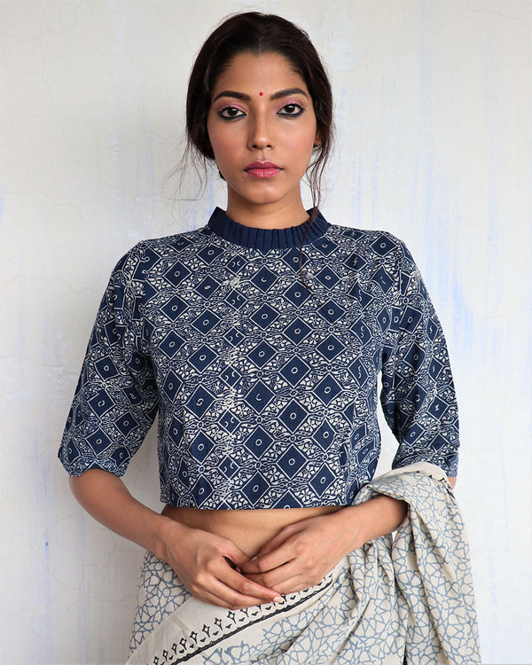 Blue Frill Neck Handprinted Cotton Crop Top Blouse- GOD