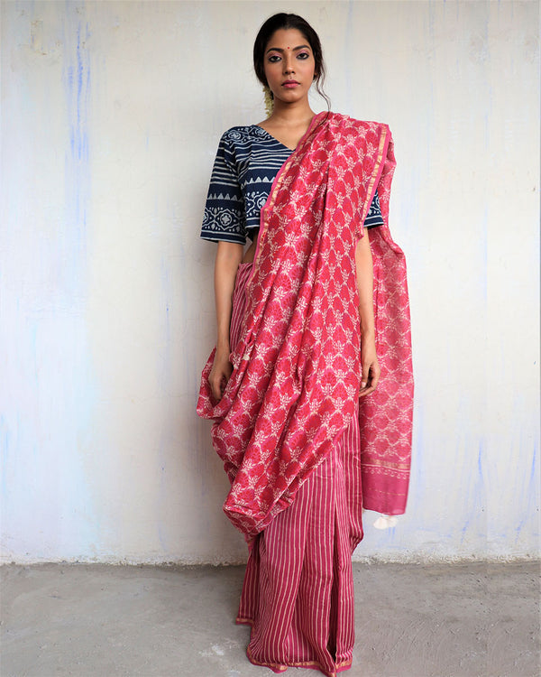 Pink Jal Sunaheri Block Printed Chanderi Saree