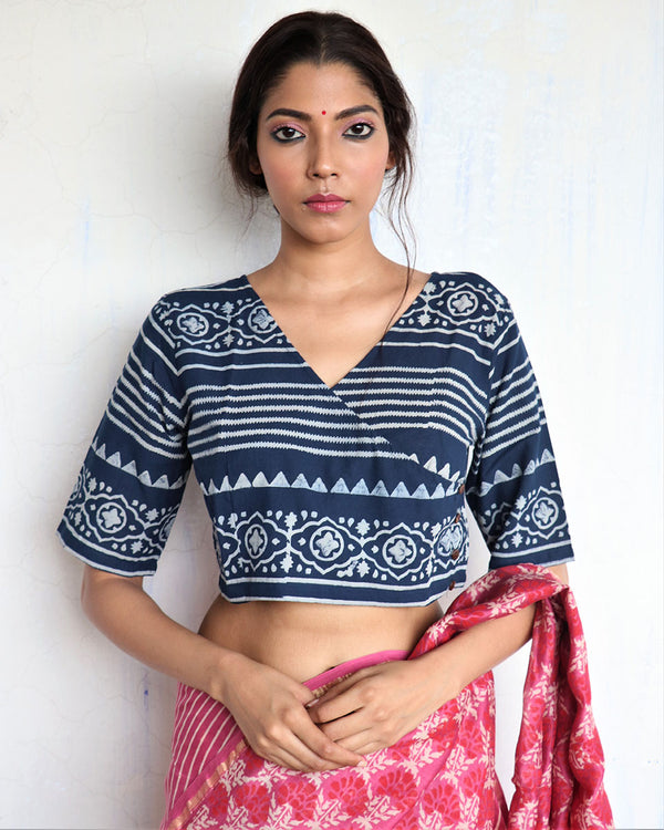 Blue Angarakha Handprinted Cotton Crop Top - GOD