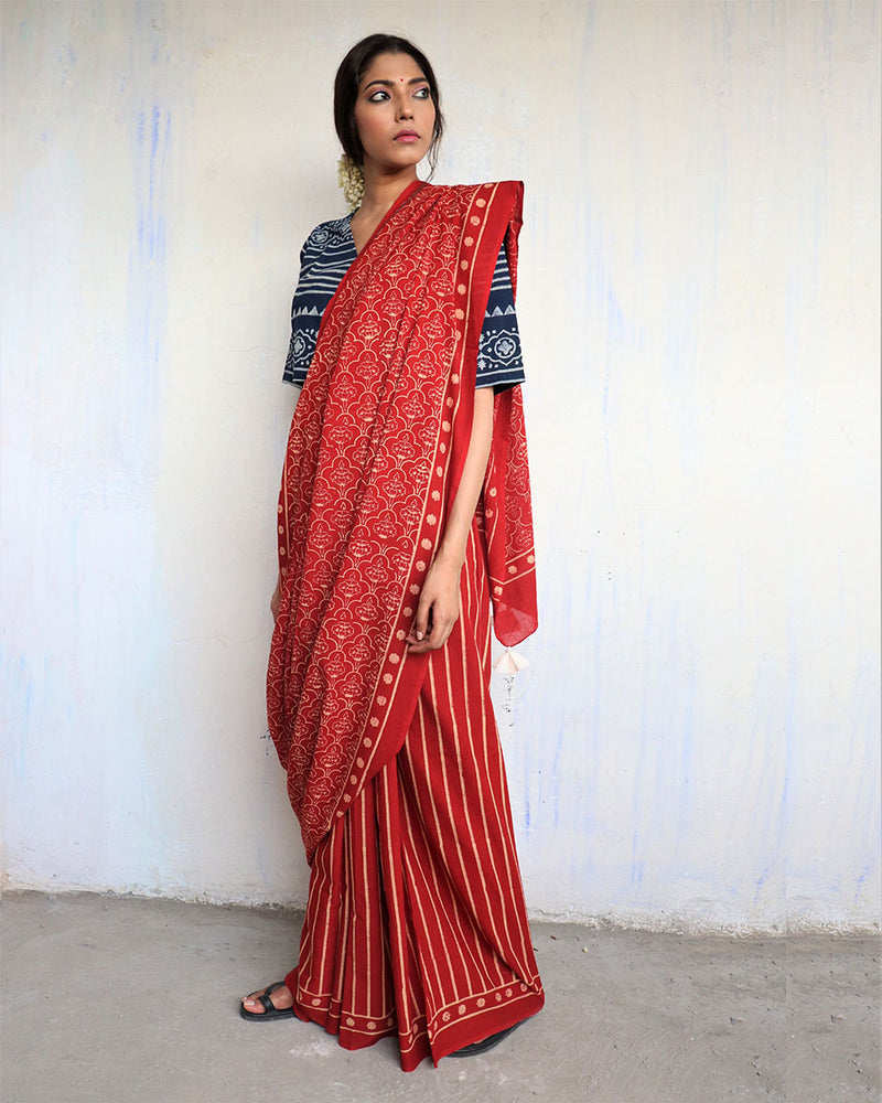 Maroon Block Printed Cotton Mul Saree - God