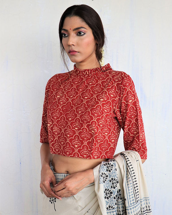 Marron Frill Neck Handprinted Cotton Crop Top Blouse- GOD