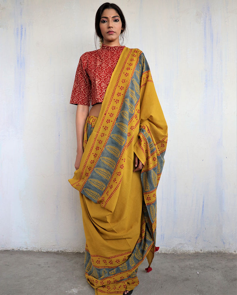 Mustard Block Printed Cotton Mul Saree - God
