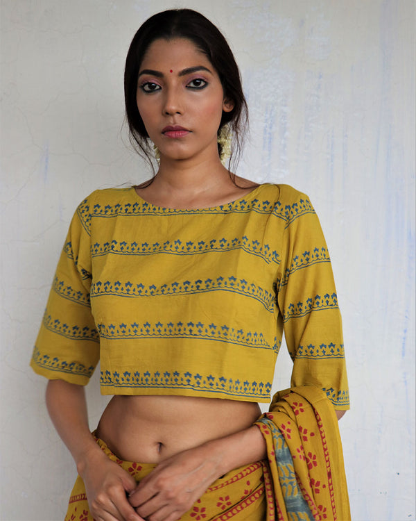 Mustard Handprinted Cotton Crop Top - GOD