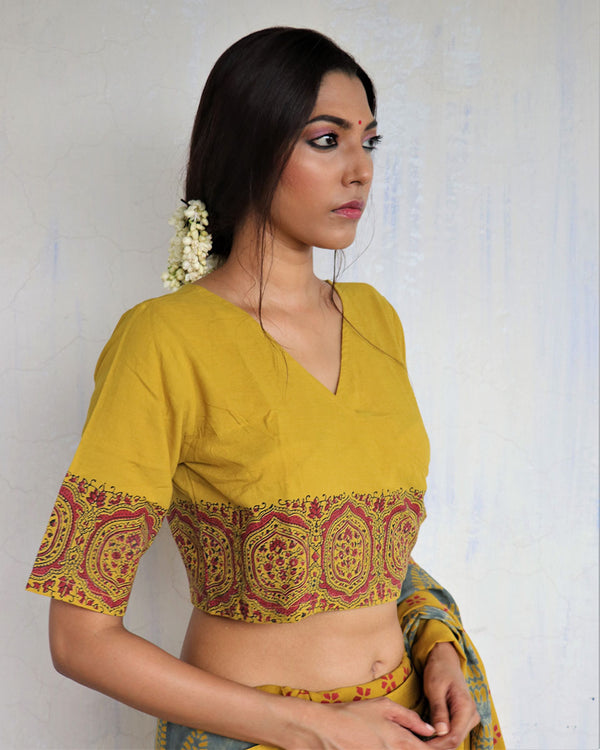 Mustard Angarakha Handprinted Cotton Crop Top Blouse - GOD