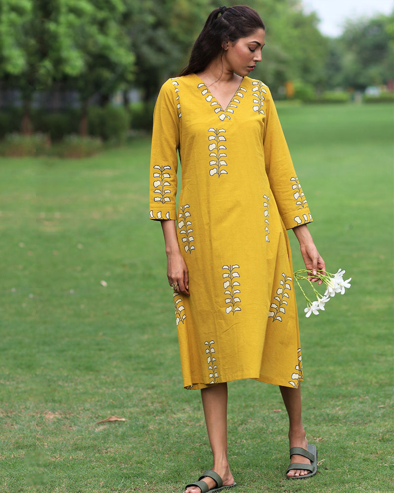Mustard Printed Cotton A-line Dress - MON
