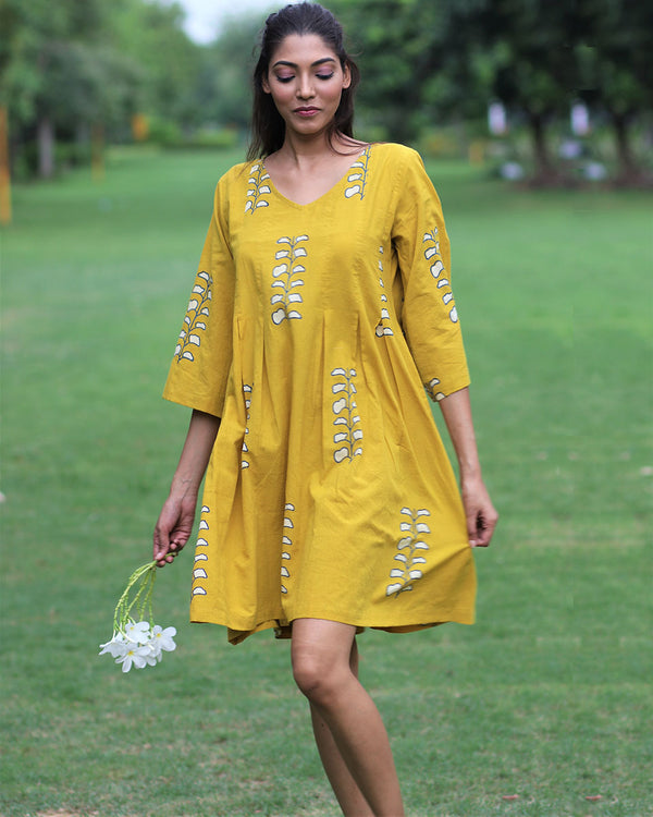 Mustard Printed Cotton Pleated Dress - MON