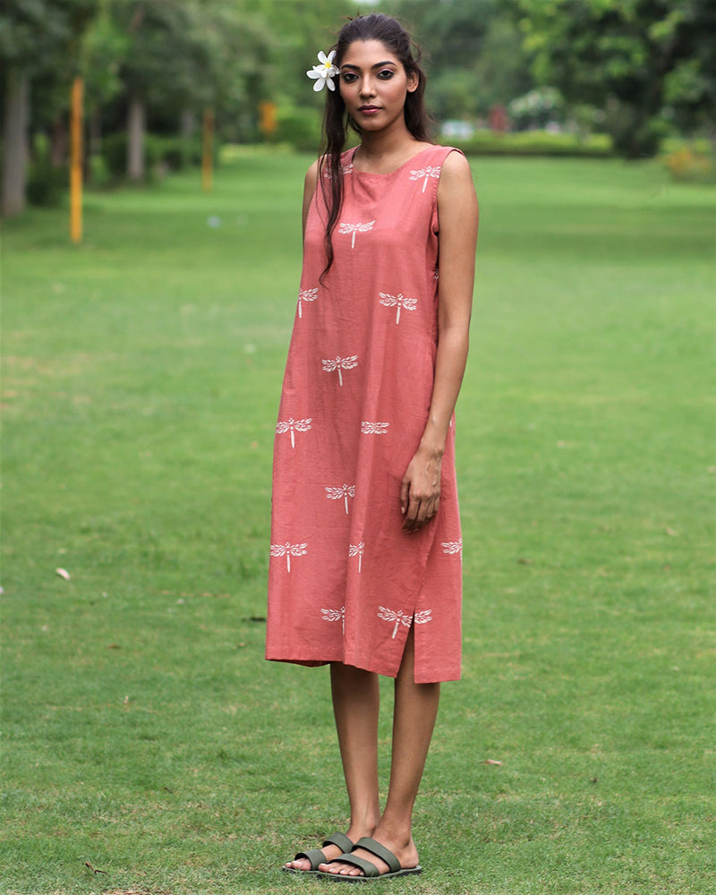 Rust Dragonfly Block Printed Cotton Sleeveless Dress - MON