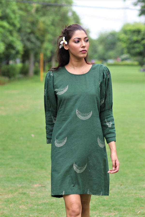 Green Moon Block Printed Cotton Pintuk Sleeves Dress - MON