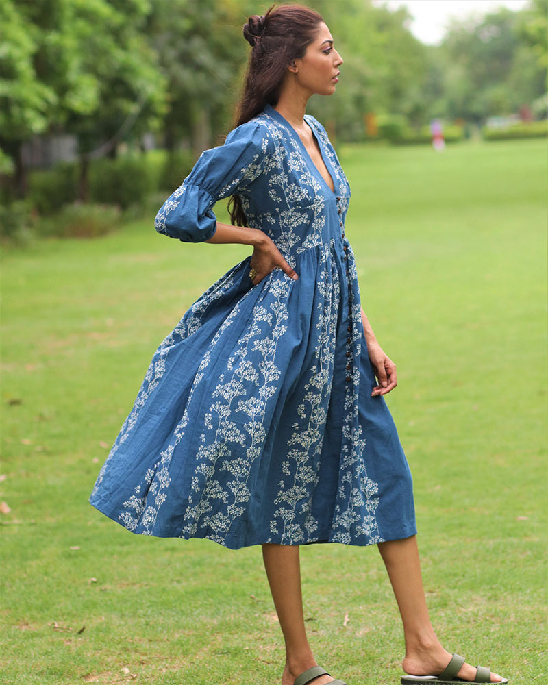 Blue Floral Block Printed Front Slit Cotton Dress - MON