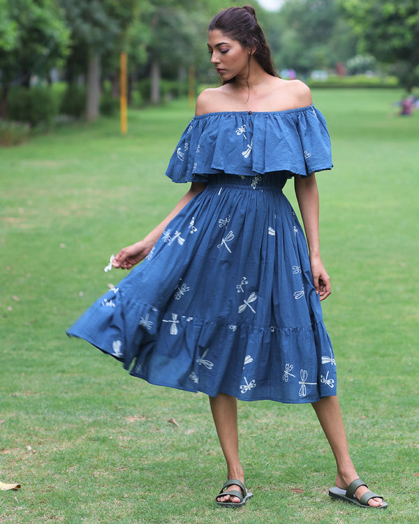 Blue Off-Shoulder Dragonfly Block Printed Cotton Dress- MON