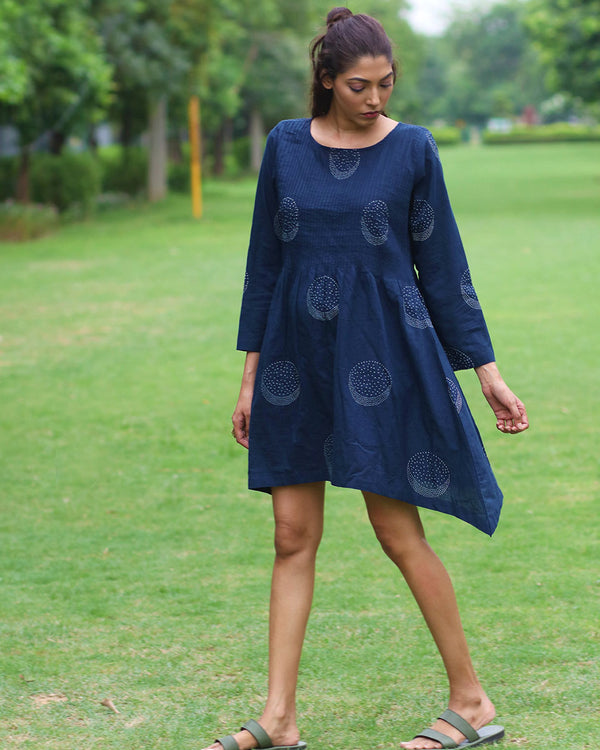 Blue Moon Block Printed Cotton Dress- MON