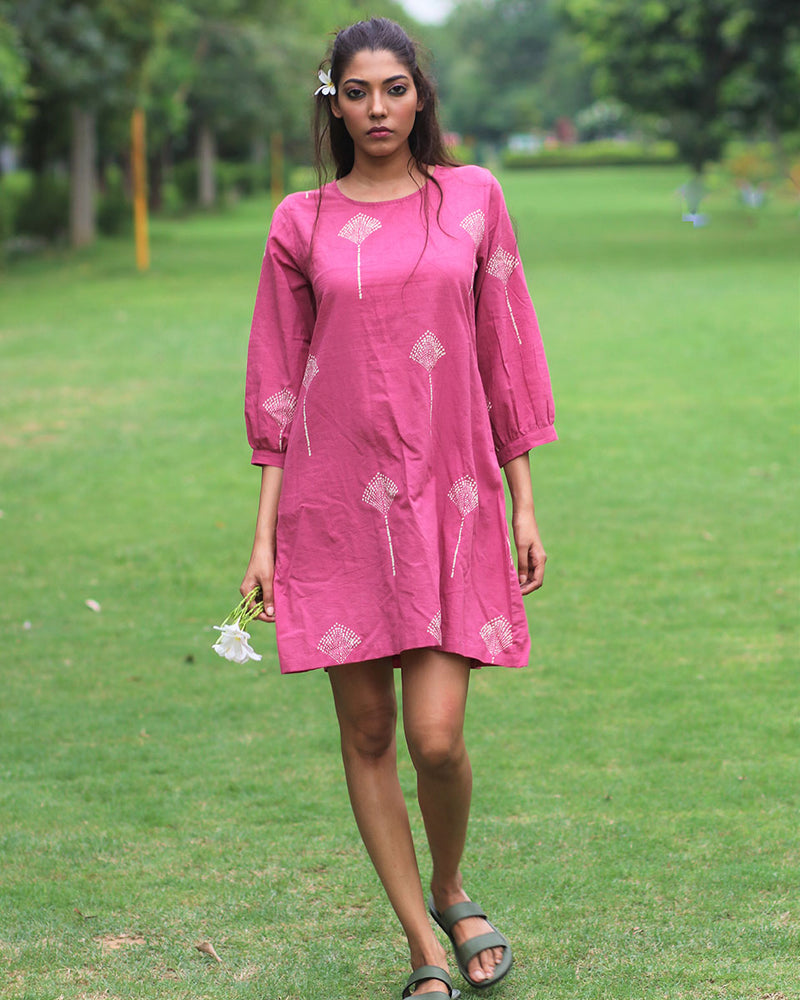 Pink Floral Block Printed Cotton Shift Dress- MON