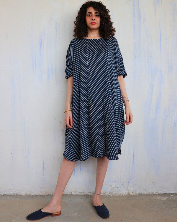 Blue Zigzag Blockprinted Cotton Silk Freesize Dress