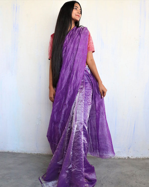 Handwoven mulberry silk zari purple saree