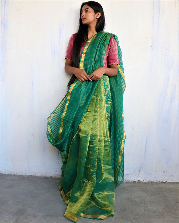 Handwoven mulberry silk zari green saree