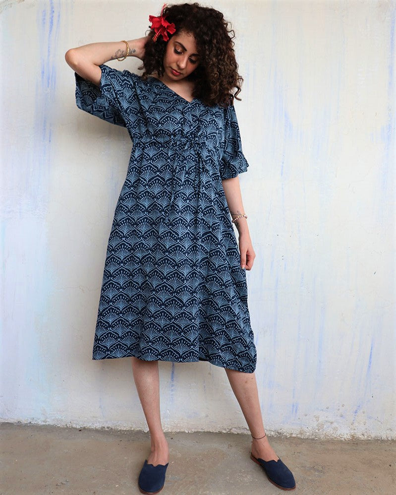 Blue Jal Blockprinted Kaftan Dress - Hibiscus