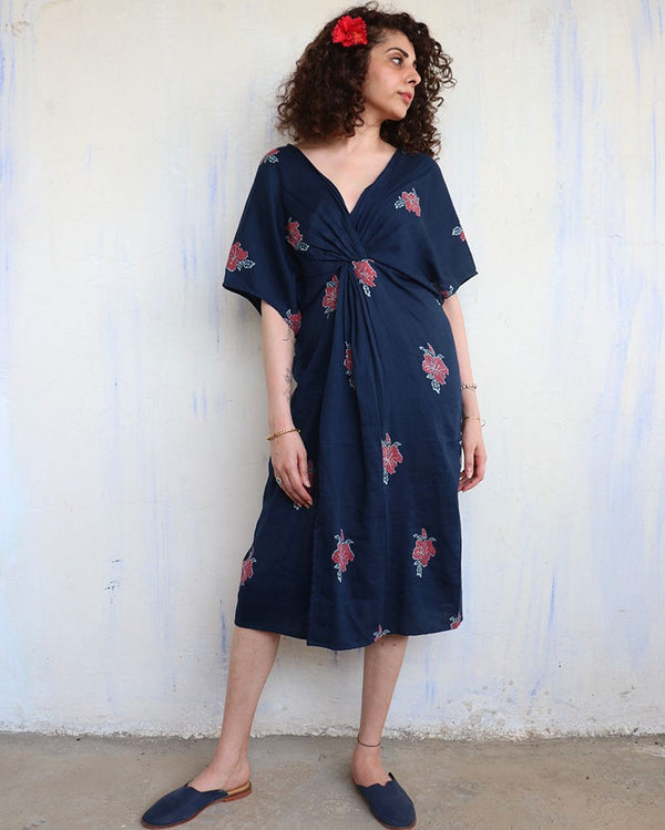 Blue Hibiscus Blockprinted Dress