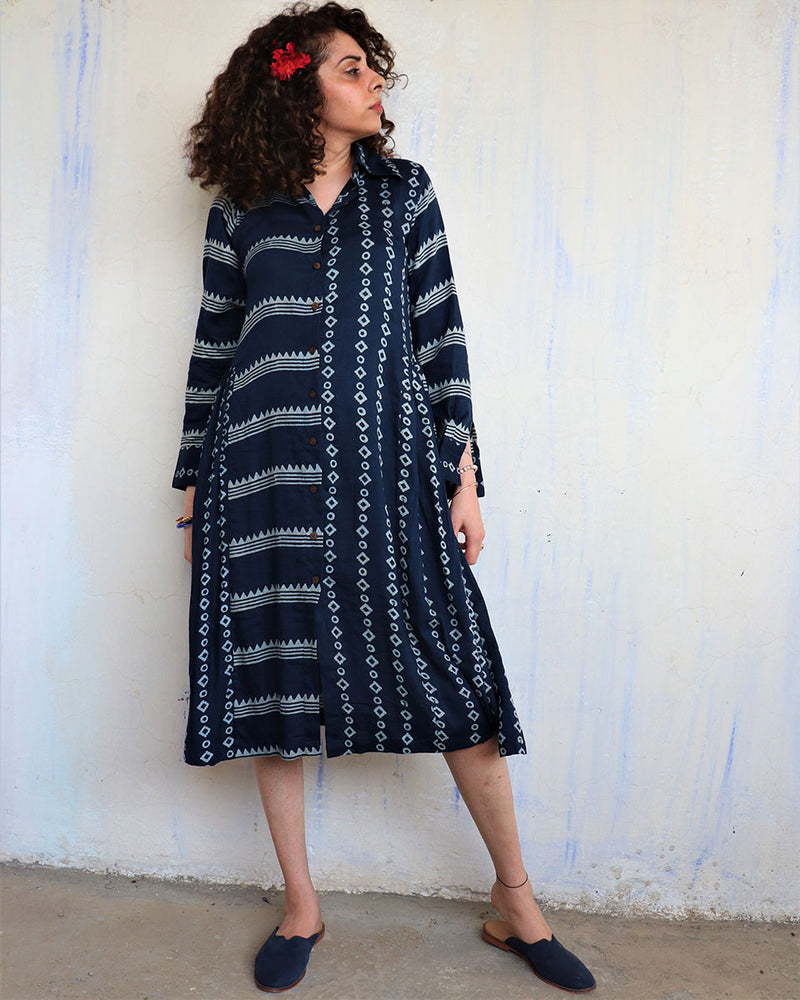 Blue Line Blockprinted Dress - Hibiscus