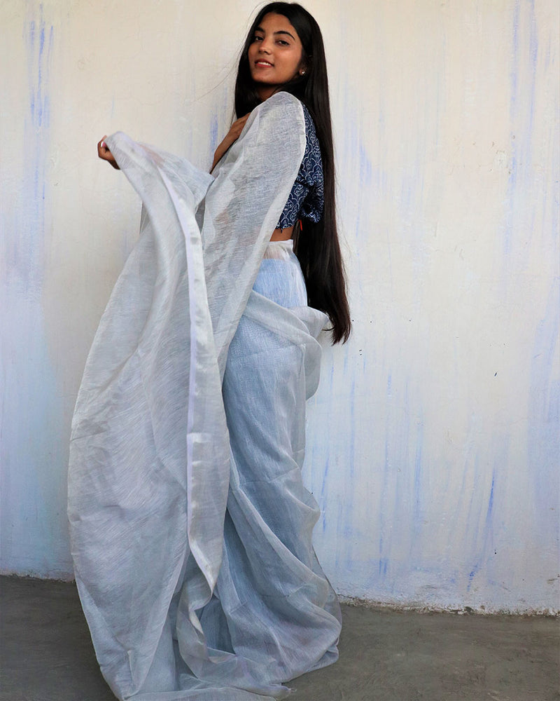 Steel Grey Handwoven Linen Zari Saree - Melting Moon