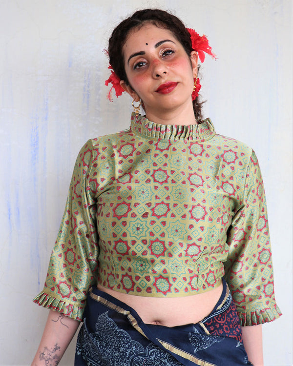 SAP GREEN BLOCK PRINTED CROP TOP BLOUSE IN MASHRU SILK-HIBISCUS